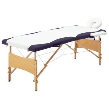 vidaXL Sklopivi masažni stol s 2 zone drveni bijelo-ljubičasti