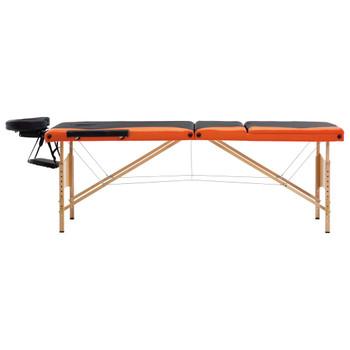 vidaXL Sklopivi masažni stol s 3 zone drveni crno-narančasti