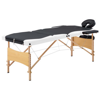 vidaXL Sklopivi masažni stol s 3 zone drveni crno-bijeli