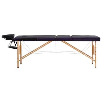 vidaXL Sklopivi masažni stol s 3 zone drveni crno-ljubičasti