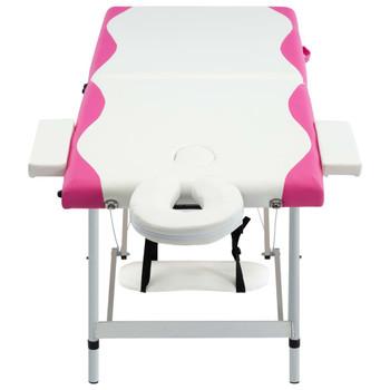 vidaXL Sklopivi masažni stol s 2 zone aluminijski bijelo-ružičasti