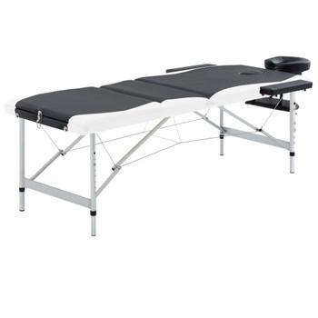 vidaXL Sklopivi masažni stol s 3 zone aluminijski crno-bijeli
