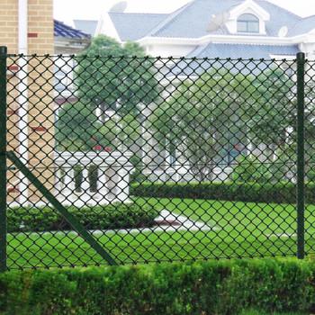 vidaXL Žičana ograda sa stupovima čelična 1,25 x 15 m zelena