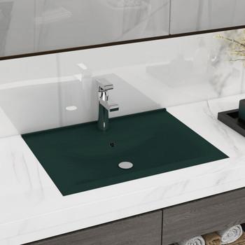 vidaXL Luksuzni umivaonik mat tamnozeleni 60 x 46 cm keramički