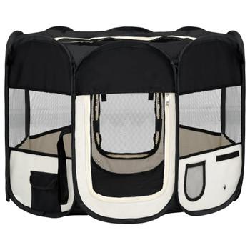 vidaXL Sklopiva ogradica za pse s torbom za nošenje crna 90x90x58 cm