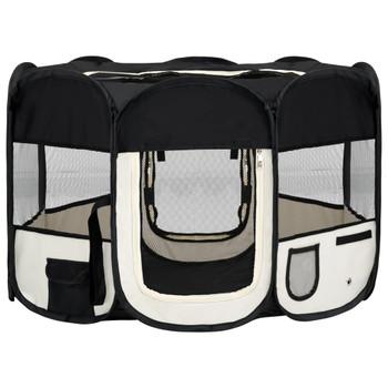 vidaXL Sklopiva ogradica za pse s torbom za nošenje crna 110x110x58 cm