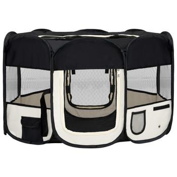 vidaXL Sklopiva ogradica za pse s torbom za nošenje crna 125x125x61 cm