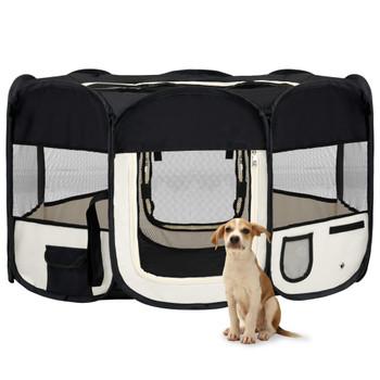 vidaXL Sklopiva ogradica za pse s torbom za nošenje crna 145x145x61 cm