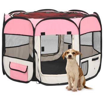 vidaXL Sklopiva ogradica za pse s torbom za nošenje roza 90x90x58 cm