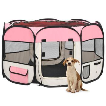 vidaXL Sklopiva ogradica za pse s torbom za nošenje roza 110x110x58 cm