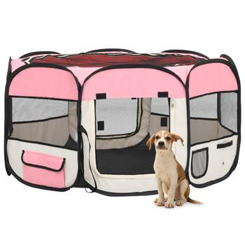 vidaXL Sklopiva ogradica za pse s torbom za nošenje roza 125x125x61 cm