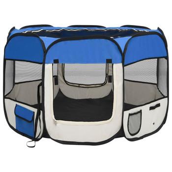 vidaXL Sklopiva ogradica za pse s torbom za nošenje plava 90x90x58 cm