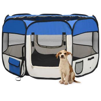 vidaXL Sklopiva ogradica za pse s torbom plava 110 x 110 x 58 cm