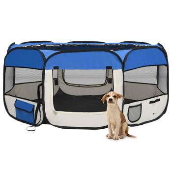 vidaXL Sklopiva ogradica za pse s torbom plava 145 x 145 x 61 cm
