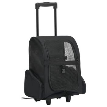 vidaXL Sklopiva višenamjenska kolica za kućne ljubimce crna