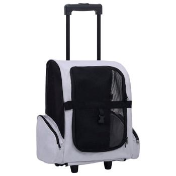 vidaXL Sklopiva višenamjenska kolica za kućne ljubimce siva
