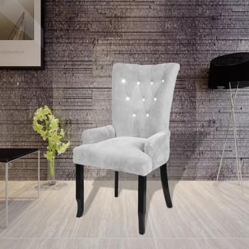 vidaXL Fotelja od baršuna srebrna