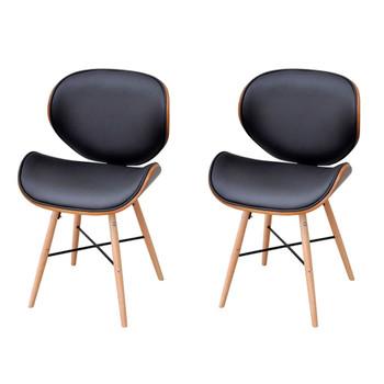 vidaXL Blagovaonske stolice od zaobljenog drva i umjetne kože 2 kom