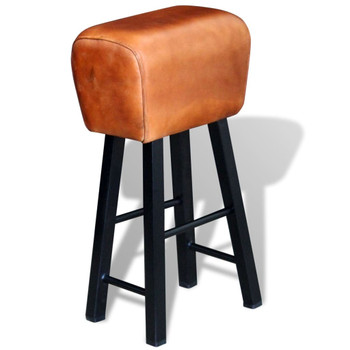 vidaXL Barski stolac od prave kože crno smeđi