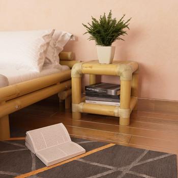 vidaXL Noćni ormarić od bambusa 40 x 40 x 40 cm prirodna boja