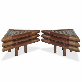 vidaXL Noćni ormarići 2 kom 60 x 60 x 40 cm od bambusa tamnosmeđi