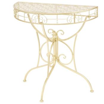 vidaXL Bočni starinski stolić polukružni metalni 72 x 36 x 74 cm zlatni