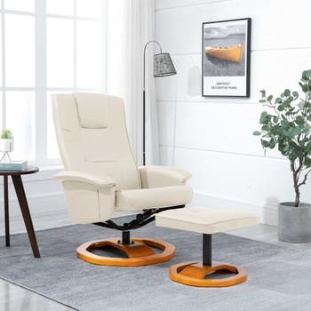 vidaXL Okretna TV fotelja s osloncem za noge od umjetne kože krem
