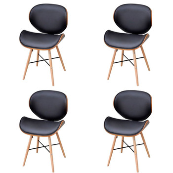 vidaXL Blagovaonske stolice od zaobljenog drva i umjetne kože 4 kom