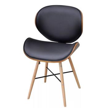 vidaXL Blagovaonske stolice od zaobljenog drva i umjetne kože 6 kom