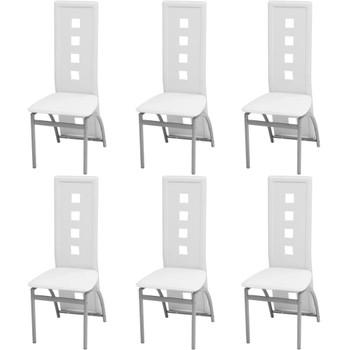 vidaXL Blagovaonse stolice od umjetne kože 6 kom bijele