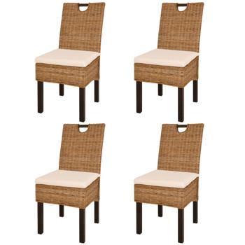 vidaXL Blagovaonske stolice 4 kom od ratana kubu i drva manga