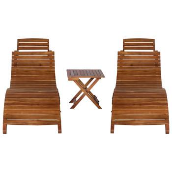vidaXL 3-dijelna ležaljka za sunčanje sa stolićem od bagremovog drva