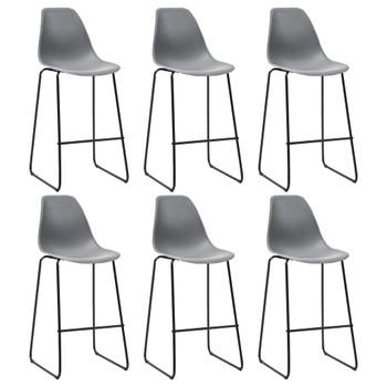 vidaXL Barske stolice 6 kom sive plastične