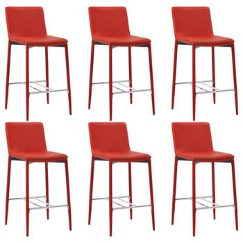 vidaXL Barski stolci od umjetne kože 6 kom crveni