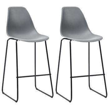 vidaXL Barske stolice 2 kom sive plastične