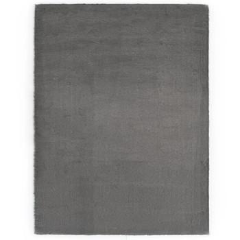 vidaXL Tepih od umjetnog zečjeg krzna 140 x 200 cm tamnosivi