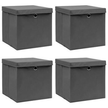 vidaXL Kutije za pohranu s poklopcima 4 kom sive 32x32x32 cm tkanina