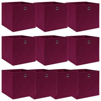 vidaXL Kutije za pohranu 10 kom tamnocrvene 32 x 32 x 32 cm od tkanine