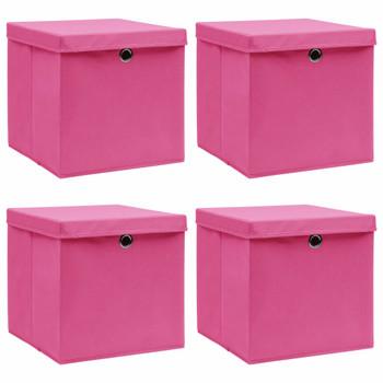 vidaXL Kutije za pohranu s poklopcima 4 kom roze 32x32x32 cm tkanina