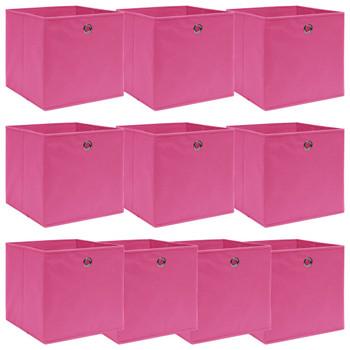 vidaXL Kutije za pohranu 10 kom ružičaste 32 x 32 x 32 cm od tkanine
