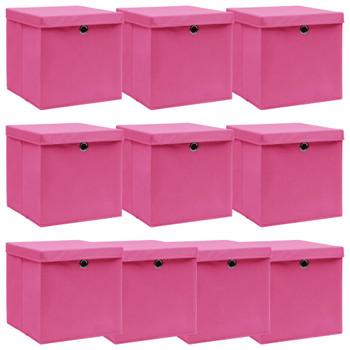 vidaXL Kutije za pohranu s poklopcima 10 kom roze 32x32x32 cm tkanina