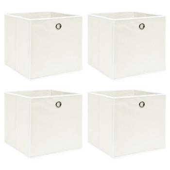 vidaXL Kutije za pohranu 4 kom bijele 32 x 32 x 32 cm od tkanine