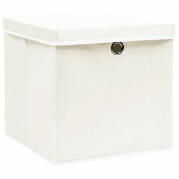 vidaXL Kutije za pohranu s poklopcima 4 kom bijele 32x32x32 cm tkanina
