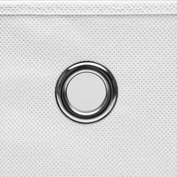 vidaXL Kutije za pohranu s poklopcima 10 kom bijele 32x32x32 cm tkanina