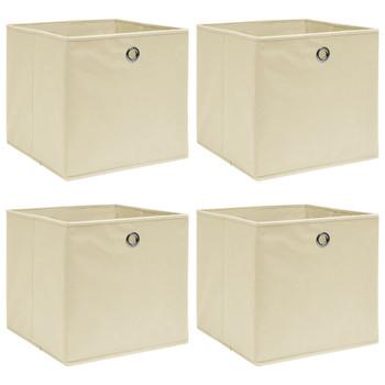 vidaXL Kutije za pohranu 4 kom krem 32 x 32 x 32 cm od tkanine