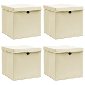 vidaXL Kutije za pohranu s poklopcima 4 kom krem 32x32x32 cm tkanina