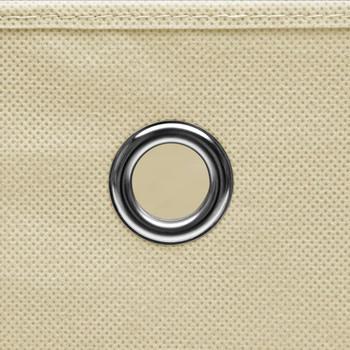vidaXL Kutije za pohranu s poklopcima 10 kom krem 32x32x32 cm tkanina
