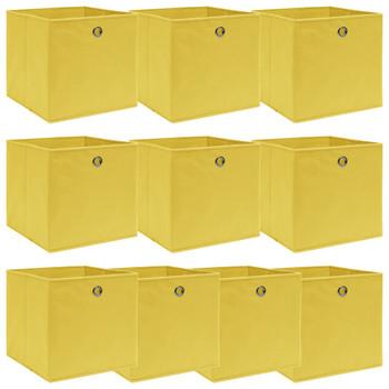 vidaXL Kutije za pohranu 10 kom žute 32 x 32 x 32 cm od tkanine