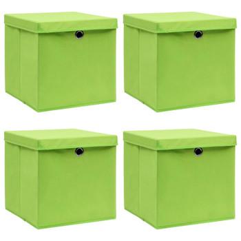 vidaXL Kutije za pohranu s poklopcima 4 kom zelene 32x32x32 cm tkanina