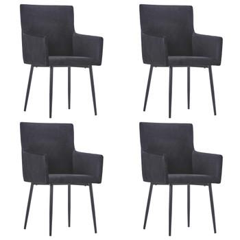 vidaXL Blagovaonske stolice s naslonima za ruke 4 kom crne baršunaste